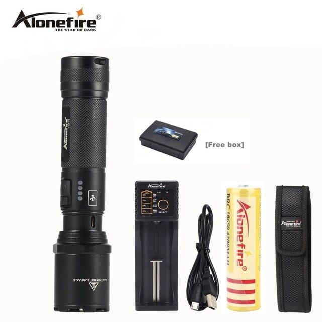 Alonefire TK700 Мощный USB Перезаряжаемый полиции самообороны светодиодный фонарик лампы Torch Light lanternas Тактические вспышки света