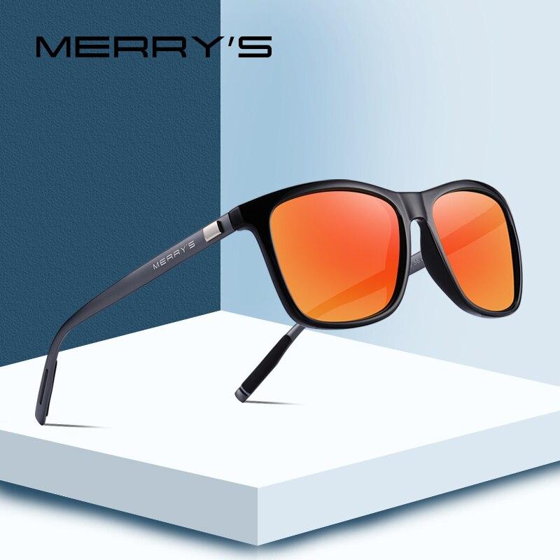 MERRY'S Unisex Retro de aluminio de gafas de sol polarizadas lente Vintage gafas de sol para hombres/mujeres S'8286