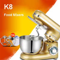 K8 220V/50 Hz Mixer Electric Kitchen Robot Kitchen Mixer 4L 600 W Eggs Kitchen Cake Stand for Cooking Mixer Mixing Gold