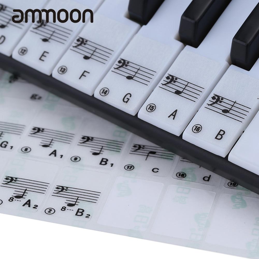 Hot Sale! Transparent Piano Keyboard Sticker 49/61 Key Electronic Keyboard 88 Key Piano Stave Note Sticker for White Keys sticker