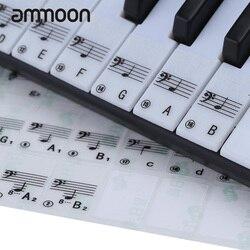 Etiqueta de piano transparente teclado de piano adesivo 49/61 chave teclado eletrônico 88 chave piano stave nota etiqueta para teclas brancas