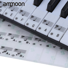 Piano Sticker Transparent Piano Keyboard Sticker 49/61 Key Electronic Keyboard 88 Key Piano Stave Note Sticker for White Keys(China)