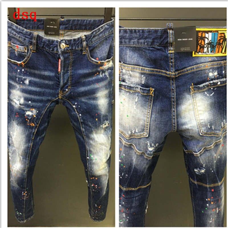 F.N.JACK Men   Jeans   Ripped Skinny Pants for Man Slim Straight Denim Zipper Outwear Man Pencil Pants