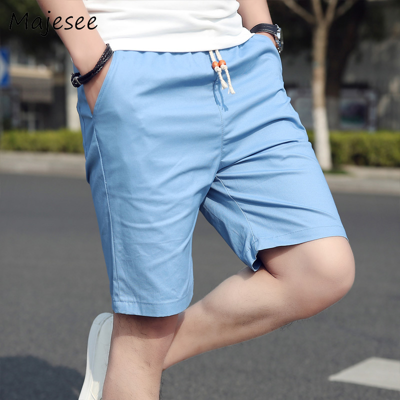 Plus Size Cotton Summer Men Casual Short Mens Shorts Solid Thin Breathable Male Korean Style Elastic Waist Fashion Loose Trendy