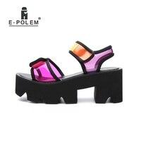 Fashion Colorful Platform Sandals Harajuku Summer Young Women's Beach Shoes Wedge Heels Femme