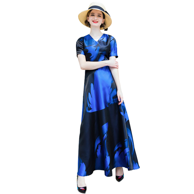 Luxury Vintage Jacquard Summer Evening Long Dress Navy Blue Plus ...