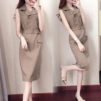 new fashion notched Solid color Slim was thin Package hip long section of professional summer Career Dresses