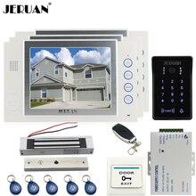 JERUAN 8 inch video door phone Record intercom system kit 2 monitor New RFID waterproof Touch Key password keypad Camera 8G SD
