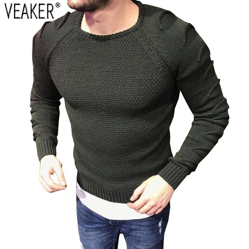 2019 New Men's Autumn Sexy Sweater Ripped Knitted Pullover Men's Skinny High Street Sweaters O-Neck Slim Fit Sweater Pullovers