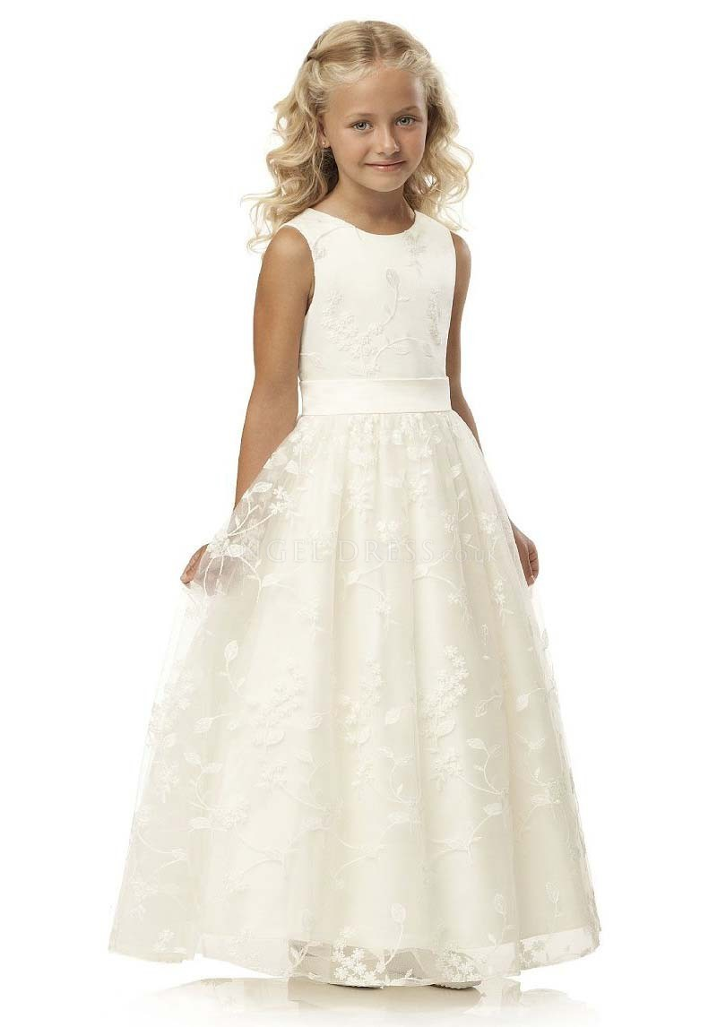 Flower     Girl     Dress   White IVORY A-Line Sleeveless Solid O-Neck   Girls   First Communion   Dress   Hot Sale Vestido De Comunion 2019