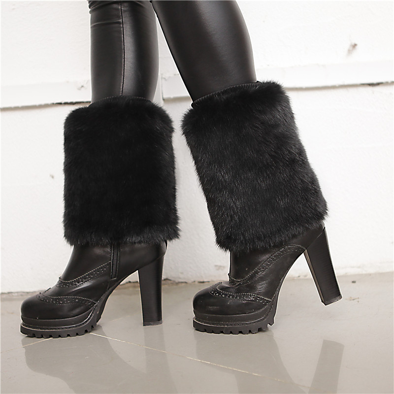 New Hot Winter Fur Leg Warmers Women Fashion Faux Fur Soft Boot Covers Solid Color Women Boot Socks Cover 15 To 20 Cm Da666