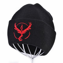 Men Women Winter Warm Beanie Hat Pocket Monster Team Pikachu Knitted Skullies Hat pokemon go Beanie Cap 6 Colors indianapolis colts nfl reebok team apparel vintage white striped team colors knit beanie hat