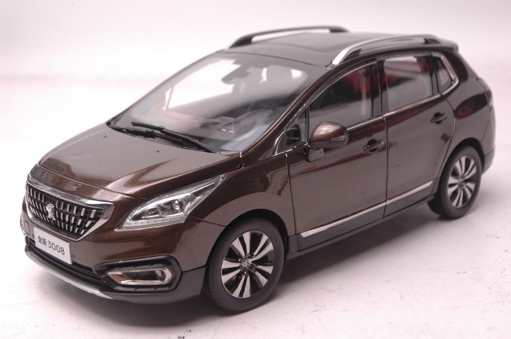 buy 1 18 diecast model for peugeot 3008 2016 brown suv alloy toy car collection. Black Bedroom Furniture Sets. Home Design Ideas