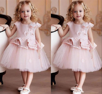 Lovely Baby Birthday Part Gowns with 3D Floral Appliques Zipper Back Knee Length Flower Girl Dress For Special Occasion Vestidos