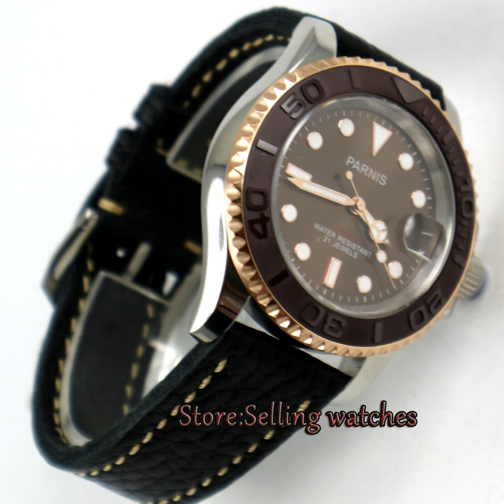 41mm Parnis Coffee dial Sapphire glass Ceramic bezel miyota automatic mens watch 42mm parnis withe dial sapphire glass miyota 9100 automatic mens watch 666b