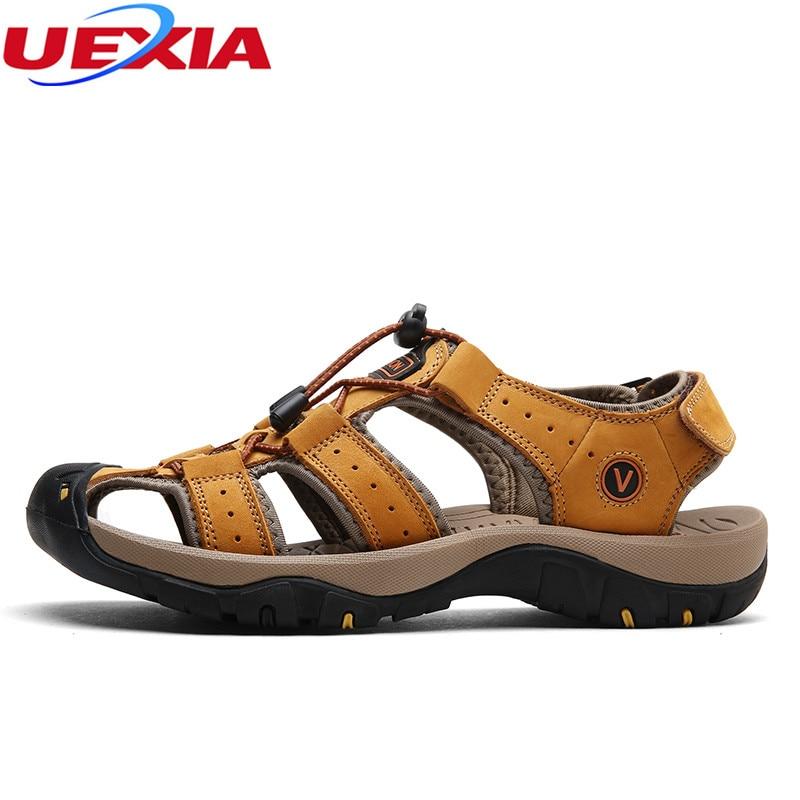 Uexia сандалии для Для мужчин прочный Летняя обувь дышащие кожаные унисекс мягкие пляжные шлепанцы Повседневное Мужская обувь большой Размер...
