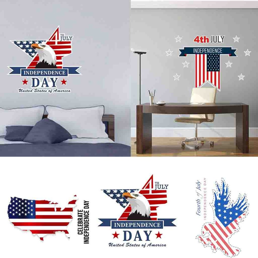 Celebrate American Independence Day <font><b>July</b></font> <font><b>4</b></font> Vinyl DIY Wall Stickers Decals Home Bedroom living room <font><b>Decor</b></font> Flat wall sticker image