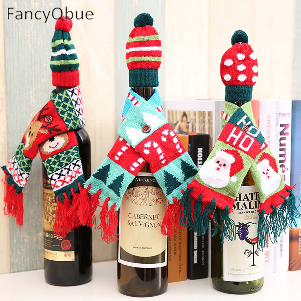 2 Pcs/set  Scarf&Hat Knitted Red Wine Bottle Decoration Novelty Scarf Bear Tassel Santa Claus Hat For Christmas Decorations
