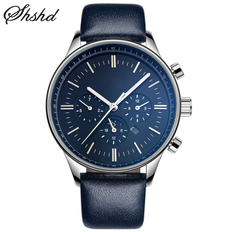 Luxury Men Watch Leather Band Black Watches For Men Rose Gold Business Analog Wristwatches Complete Calendar