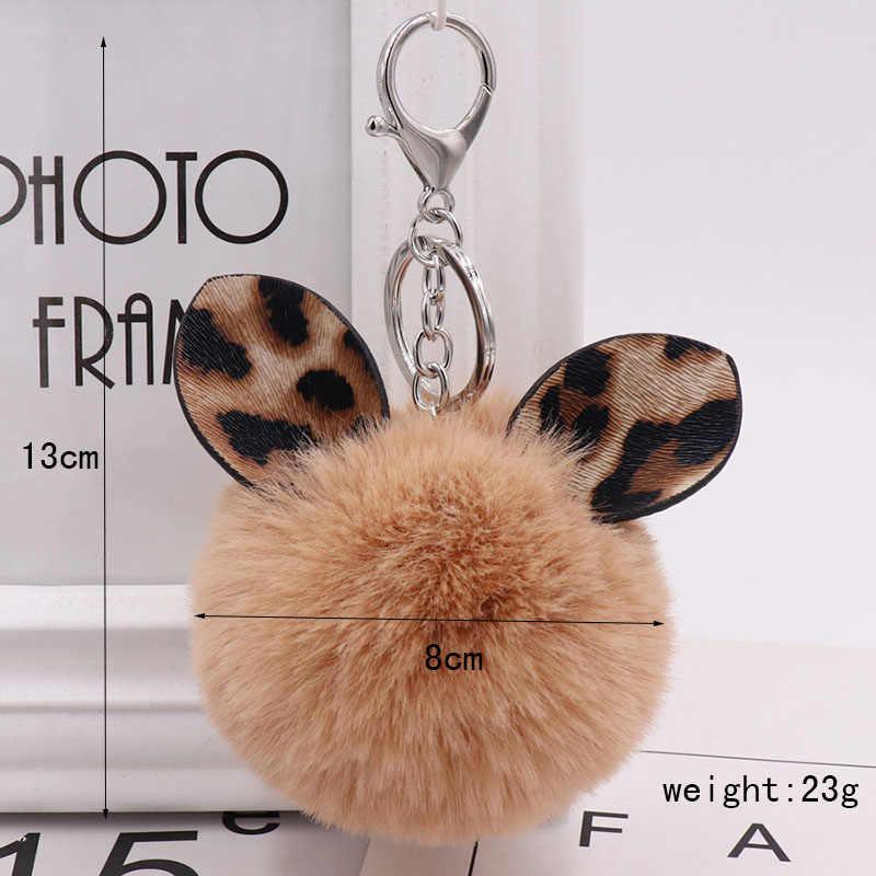 Moda Leopardo Ouvido Bola Pom Pom Chaveiros chaveiros de pelúcia criativo 35 Fure Saco de bola Pingente Pendurado Pompom Chaveiro Das Mulheres do sexo feminino