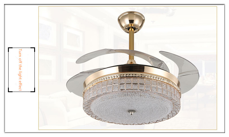 Modern European Elegant Crystal Round Shaped LED Ceiling Fan Lights with Foldable Invisible Blades