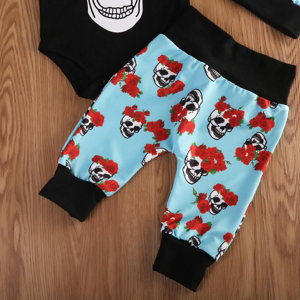 8e19b9341 4pcs Newborn Babys Boys Clothes Short Sleeve Skeleton Jumpsuit ...