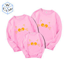 Cat Pattern Family Matching Clothes Sweatshirts Father Mother Son Outfits Couples Matching Clothing Christmas Family Pullovers(China)