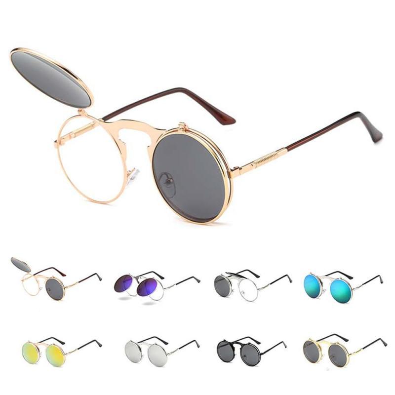 Vintage Punk Style Flip Type font b Sunglasses b font Fashion Metal Frame Sun Glasses Unisex