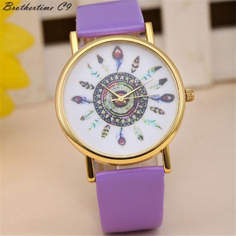 2018 New Fashion Wanita Mode Feather Dial Kulit Band Quartz Analog - Jam tangan wanita - Foto 6