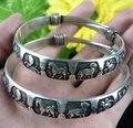 2pcs Carved Animals Two Match Tibet Silver Bracelet