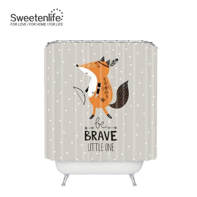Sweetenlife Cartoon Fox Bathroom Curtain Polyester Waterproof Shower Hooks 180CM180CM Curtains Bath Customize