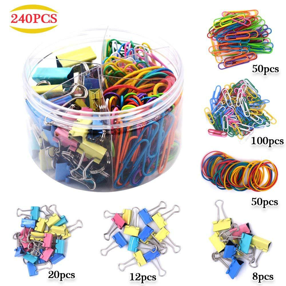 Mixed Metal Paper Clip Rubber Band Sets Bookmark File Binder Clip For Bullet Journal Folder Accessories Student Office Supplies