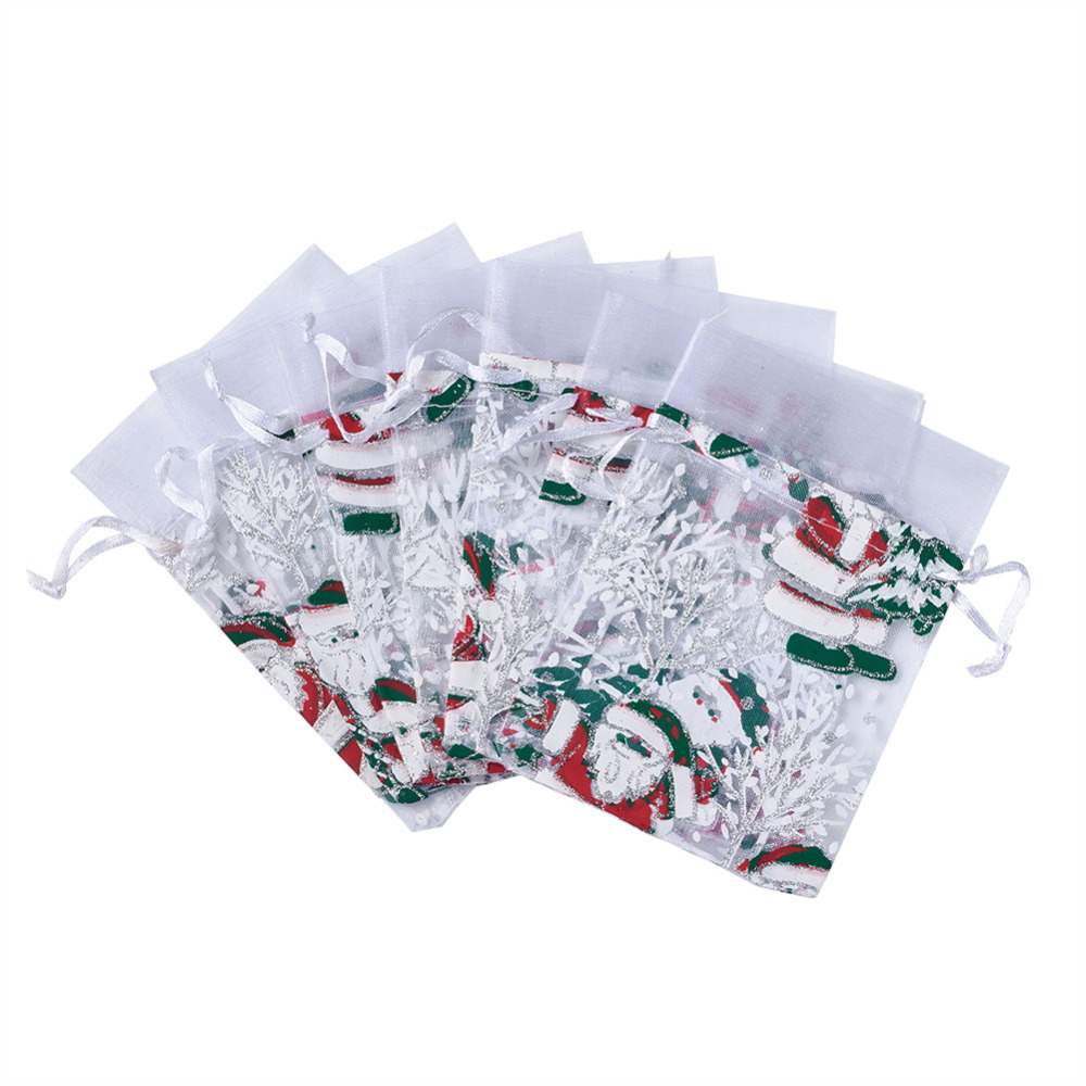 100 PCS 9X13cm White Rectangle Christmas Father Tree Organza Bags Portable Pouches for X-mas Party Gift Candy Package 25 35cm 10 pcs lot faory christmas organza bags mini plastic bags