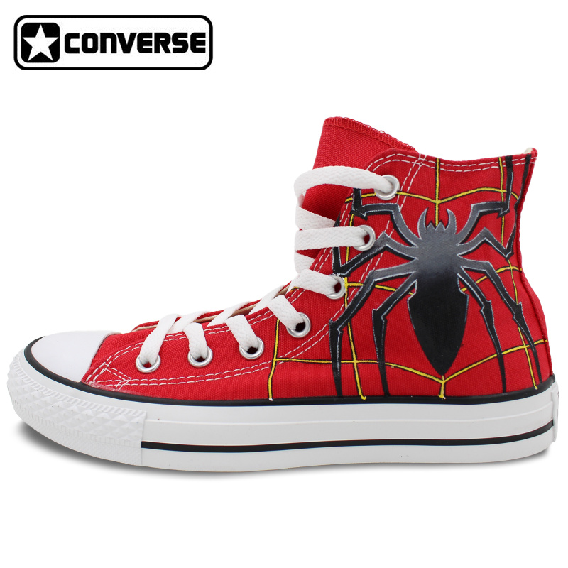 Red High Top Converse All Star Women Men Shoes Spider Original Design Hand Painted Shoes Man Woman Sneakers Christmas Gifts  classic original converse all star minim musical note design hand painted shoes man woman sneakers men women christmas gifts