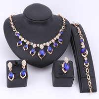 Wedding Dress Costume Women Party Gold Color African Beads Jewelry Sets Blue Gem Crystal Necklace Bracelet Earrings Ring