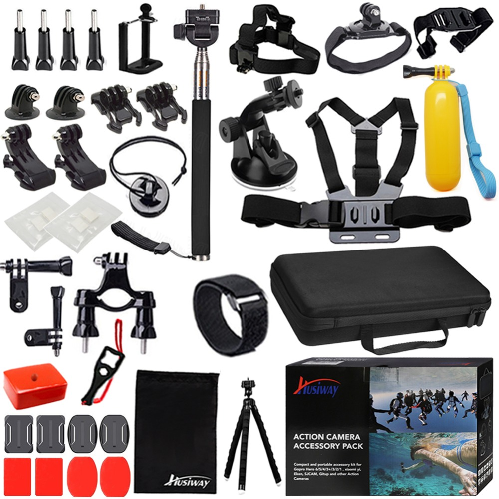 Husiway Accessories Set for Gopro hero 7 6 5 4 3 Kit for SJCAM SJ5000 / Sony / Soocoo / Eken Campark Camera 12G цена