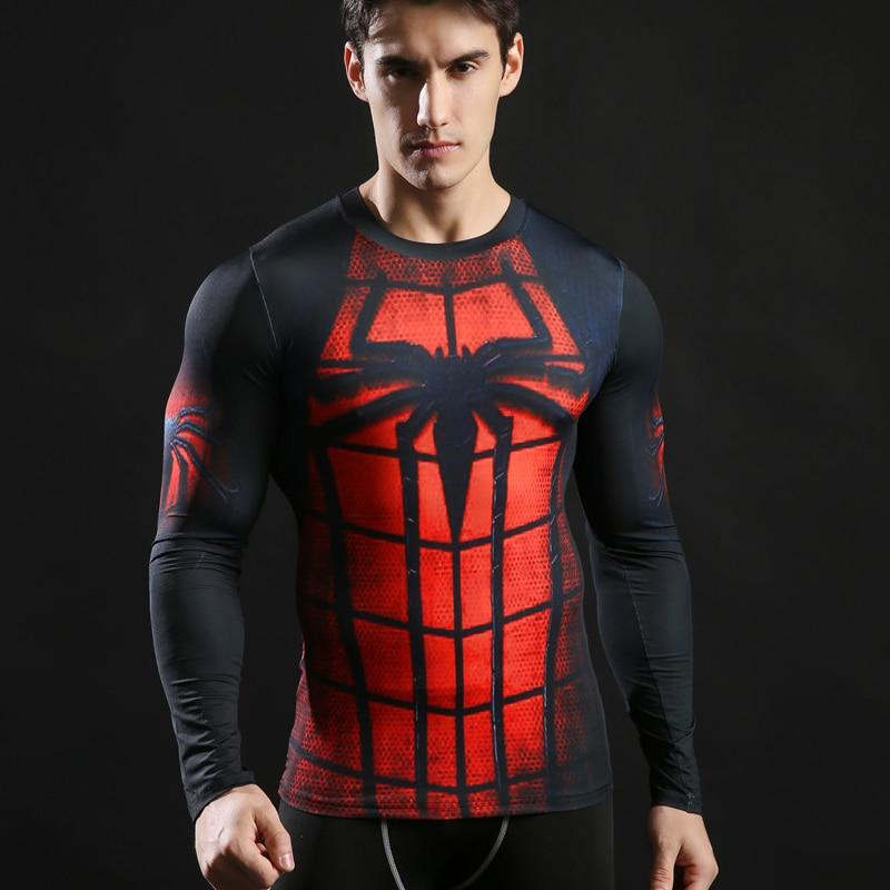 Spiderman 3D Printed Long Sleeve T Shirt Men Fitness Tights Running Sport Shirt Mens Rashgard Gym Quick Dry Tops Tees Clothing