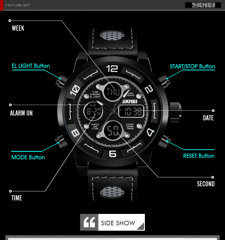 SKMEI 2019 Men\`s Wrist Watches Top Brand Luxury Watch Men Sports Leather Watches Business Digital Watch For Men reloj hombre (7)