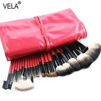 Nature Hair Makeup Brush Set 22pcs High Quality Red Beauty Tools Kit With Case
