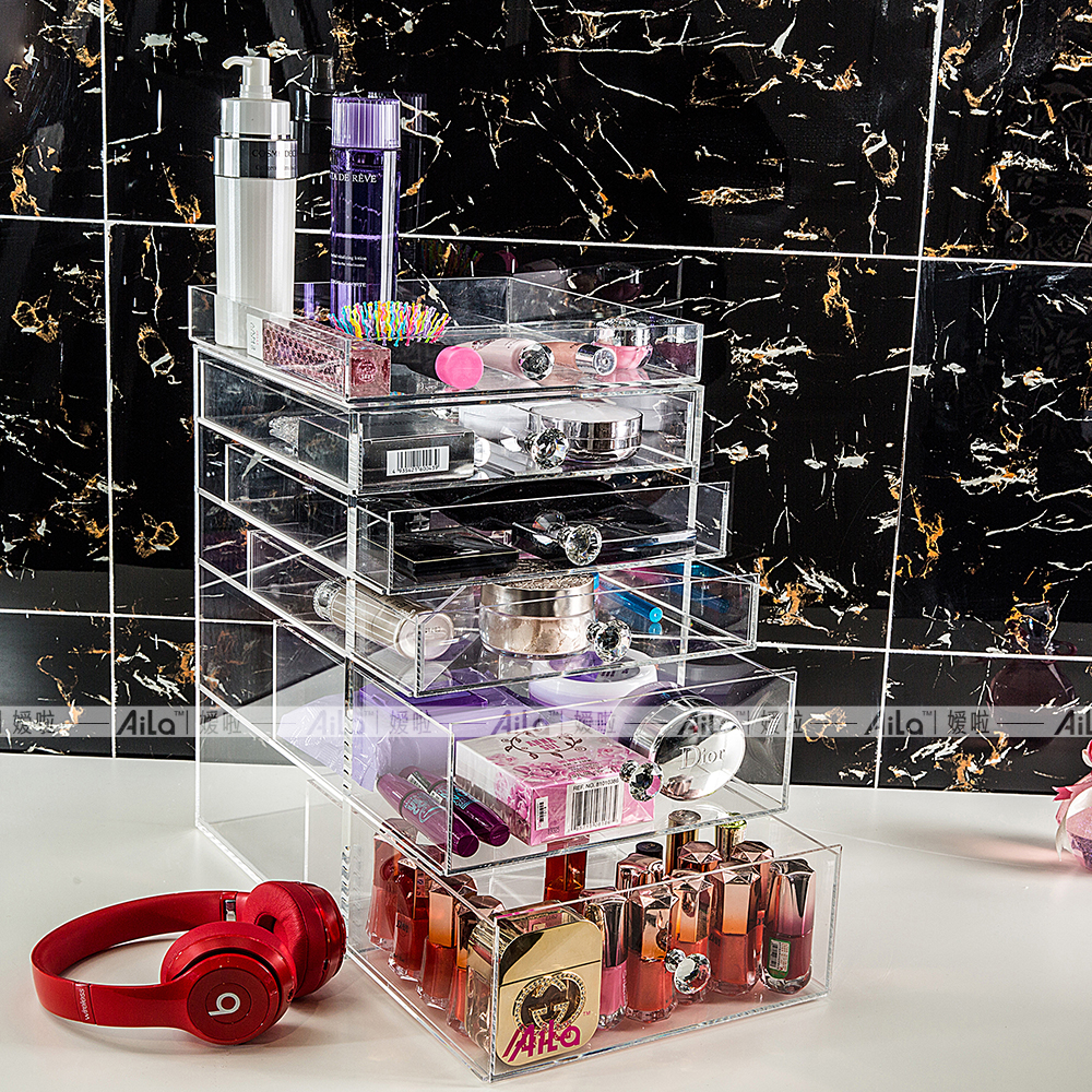Aila clair acrylique maquillage organisateur Cube haute qualité Transparent 5 tiroirs boîte de rangement pour Tables de vanité
