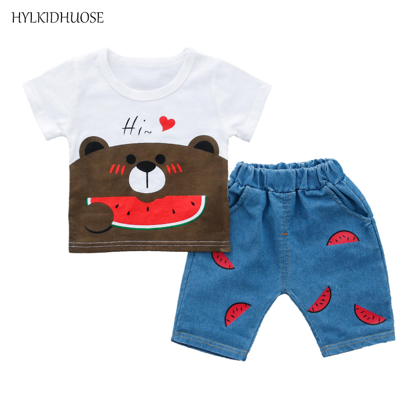 HYLKIDHUOSE 2018 Summer Infant Clothes Baby Girls Boys Clothing Sets Love Cartoon T Short Watermelon Shorts Children Kids Suits