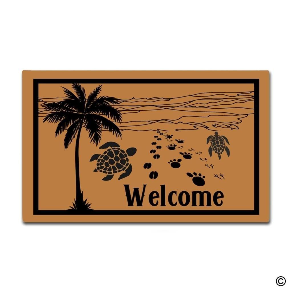 Entrance Floor Mat Funny Doormat Palm Tree Beach