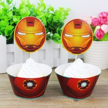 12 wraps+12 topper Iron Man Party Supplies Cupcake Wrappers Cupcake Toppers Superhero Baby Shower Kids Birthday Party Decoration