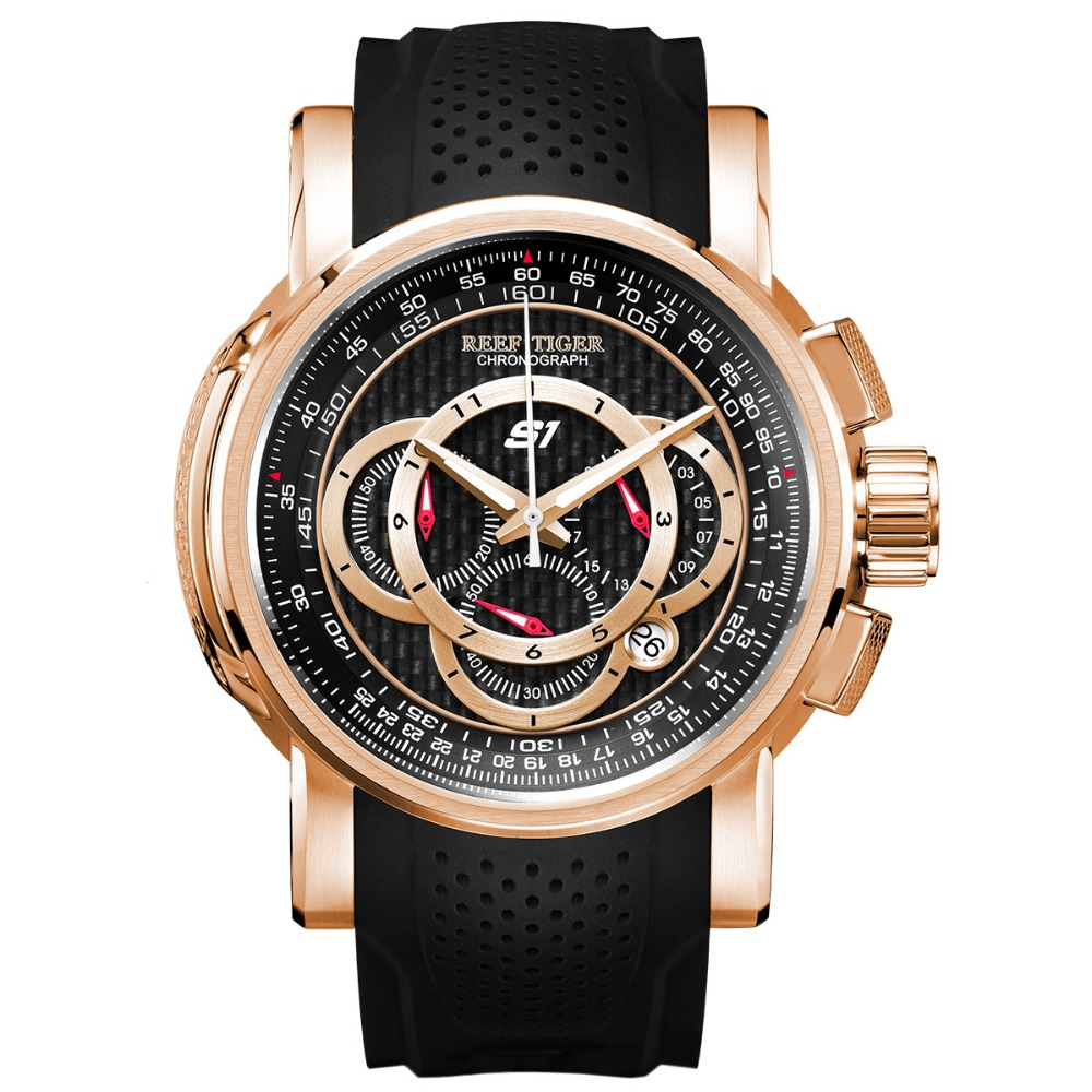2019 Reef Tiger/RT Designer Sport Watches for Men Rose Gold Quartz Watch with Chronograph and Date reloj hombre RGA3063 機械 式 腕時計 スケルトン