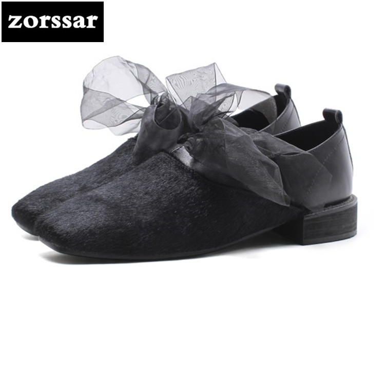 {Zorssar} 2018 horse hair low heel womens shoes Square toe Shallow high heels pumps shoes Fashion Bowknot Leisure women shoes zorssar fashion real leather womens pumps pointed toe high heels mary jane shoes low heel women shoes woman sandals green
