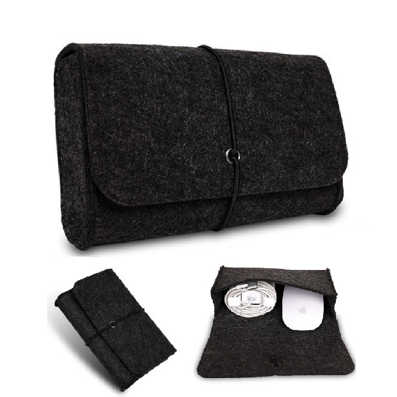 Wool Felt Coque for Macbook Dell HP Asus USB Charge Pouch Mouse Bag Pouch for Macbook Air Pro Retina 11 13 15 Mouse Charge Bag