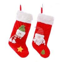 2017 גרבי תליון קישוט עץ חג המולד חמוד ממולא בפלאש בד בעבודת יד שקי ממתקי מתנות בית קישוטי המפלגה