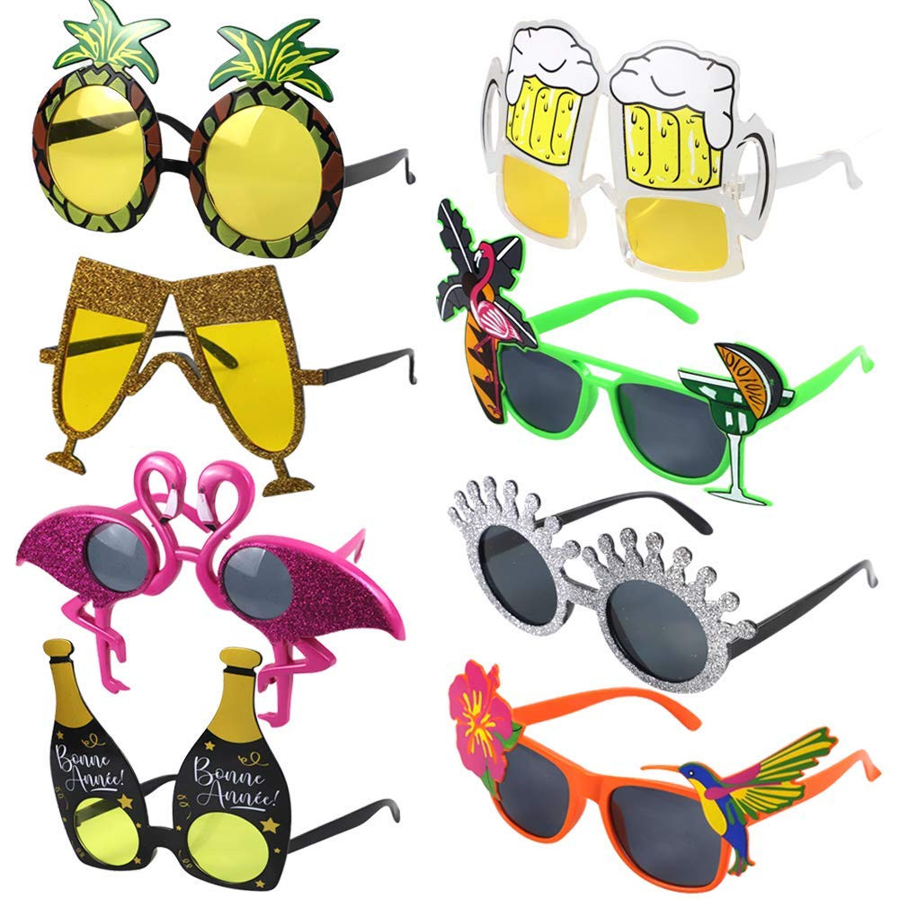 Hawaiian Party Sunglasses, Funny Hawaiian Glasses Tropical Fancy Dress Favors Fun Summer Party Photo Booth Props Supplies