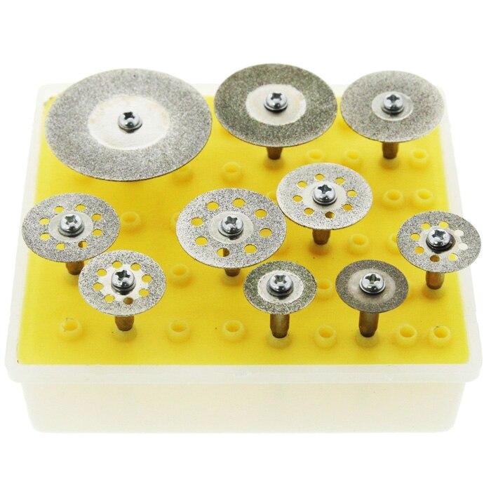 10pc Diamond Saw Cut Off Discs Wheel Blades Rotary Tool Set 1/8 Shank For Dremel 16/18/22/25/30/40mm