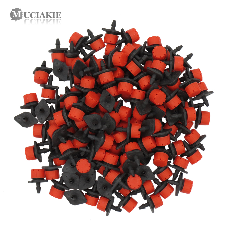MUCIAKIE 500-10PCS Adjustable Irrigation Misting Micro Flow Dripper Drip Head 1/4'' Hose Garden Sprinklers Garden Watering Tool